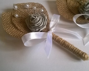 Burlap Groom's Boutonniere, Rustic Wedding, White  Bow,Grey Flowers.