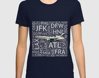 Delta Airlines Lochkeed L-1011 with Airport Codes - Short Sleeve T-Shirt