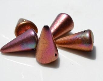 Large Spike Gold Silk Czech Glass Beads   4