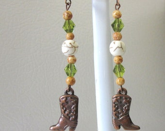Western Earrings Cowboy Boot Jewelry Copper Cowgirl Bling