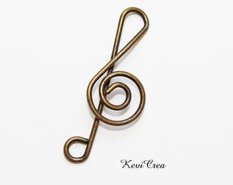 5 x charms trombone music clef bronze