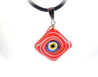 Red Diamond Evil Eye Pendant