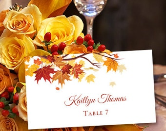 """10 Flat Printable Place Card """"Falling Leaves"""" Wedding or Thanksgiving Edit Word.doc Avery Card Stock Compatible Instant Download DIY U Print"""