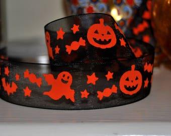 2m of Halloween Organza (Orange on Black)  Ghosts, Bats, Pumpkins  craft , uk ribbon, trim, sewing supplies