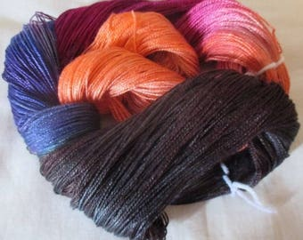 Hand dyed Tencel Yarn - 4/2 Tencel Lace Wt. Yarn  CANTERBURY - 420 yards