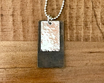 Metal Rectangle Pendant Necklace Brass