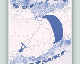 Gift for KitesurfersTarifa Windsurfing, Map Art, SUN-FLY-WINDSURF, Adventure poster, Kitesurf decor, Kitesurfer gift, Kitesurfing print
