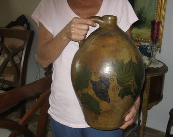 MUSEUM Quality GOODWIN & WEBSTER c.1810- 20 Amphora Jug Handled Ovoid  3 Gallon Antique Hand-Painted Folk Art