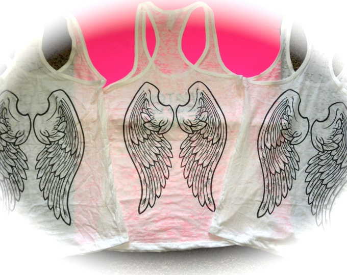Angel Wings Workout tank top. Ladies fitness shirt. Workout burnout Tank Top. exercise Tank Top. hot pink, light pink, white, yellow, green