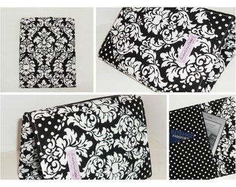 Nook Glowlight Plus Cover, Kindle Paperwhite Cover, standing hardcover,  all sizes, Damask Dot eReader Cover