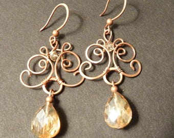Earrings in antiqued copper and Crystal drops
