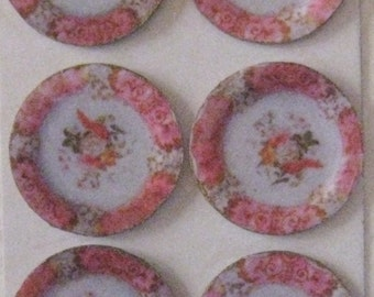 Dollhouse Plates, dishes,  card, card plates,    hand finished plates, , twelfth scale, dollhouse accessory