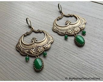 Eugénie Art Nouveau jade earrings