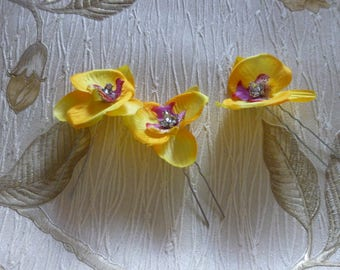 Yellow Orchid hairpins, yellow flower hairpins, set of 3  PROM | PARTY | Wedding