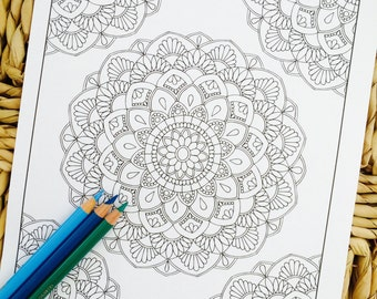 "Mandala ""Luminosity Corner"" Hand Drawn Adult Coloring Page Print"