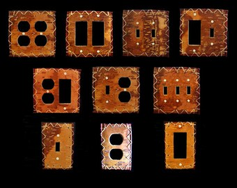 Real reversed birch bark electrical plate covers handcrafted leather look any configuration needed