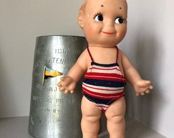 Vintage Kewpie doll Cameo striped bathing suit vinyl