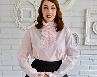 Vintage 1960s Light Pink Ruffle Blouse with Buttons Down the Back Size Large