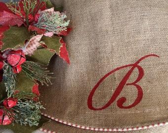 "Extra Large 72"" Burlap Christmas Tree Skirt   Lined   Oversize   Beige Burlap   Optional Custom Initial Name   Rustic"