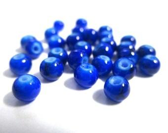 50 4mm dark blue speckled glass beads
