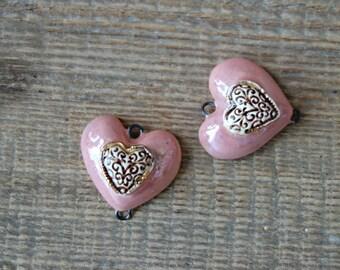 Ceramic connector -pendant  Heart.Ceramic handmade
