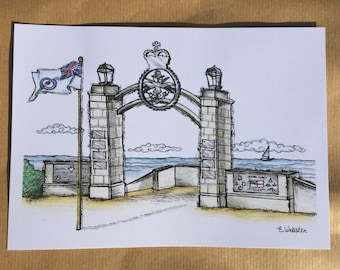 Cleethorpes Memorial Gate A5 Hand Drawn Art Print, Armed Forces Day Limited Edition