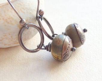 Earthy Stone Earrings, Blue and Brown Jasper on Patina Copper Hoops, Etched Copper Bead Caps, Boho Jewelry