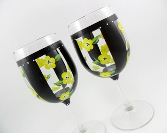 Wine Glasses Hand Painted Black Stripes Yellow Flowers Set of 2