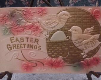 Early Embossed Easter Greetings Postcard