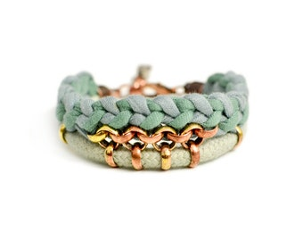 Tribal Bracelet, Bohemian Jewelry, Fabric Bracelet, Crochet Bracelet, Bohemian Jewelry, Rope Bracelet, Jersey Bracelet