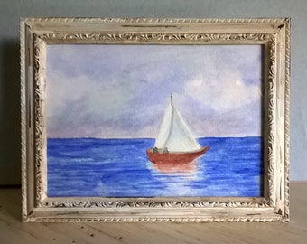 Watercolor Painting of Sailboat, 5x7 Horizontal, Framed