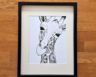 Giraffe A4 print | Giraffe doodle print | Giraffe picture | Giraffe print | Print for home | A4 print