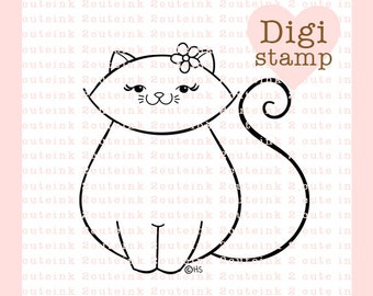 Pretty Kitty Digital Stamp for Card Making, Paper Crafts, Scrapbooking, Hand Embroidery, Invitations, Stickers, Coloring Pages