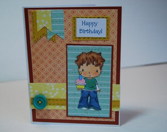 Happy Birthday - Handmade Greeting Card - C.C. Deigns Stamped Image Birthday Eli