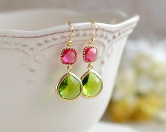 Fuchsia Pink Ruby Peridot Apple Green Dangle Earrings, Gold Plated Teardrop Glass Earrings, Bridesmaid Earrings, Fuchsia Green Wedding