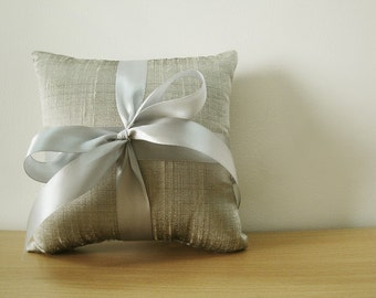 Silver Grey Silk Dupioni Ring Bearer Pillow with Grey Satin Ribbon