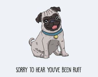 Pug Postcard: Sorry to hear you've been Ruff