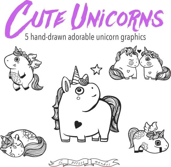 Dibujado a mano lindo unicornio a caballo gráfico gráficos ...