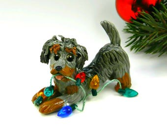 Dachshund WireHaired Porcelain Christmas Ornament Figurine Lights OOAK