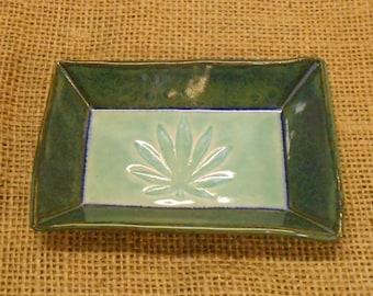 Cannabis Leaf Plate, Marijuana Leaf, Medical Marijuana Tray, Candle Plate, Hindu Style Leaf with Paisley Design- Mottled Blue, Aqua