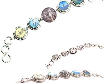 MERZIEs artisan silver Snap Bracelet Angels Watching Over, Wings Ready But I Was Not, Cross, Tree of Life button toggle - SHIPs from USA