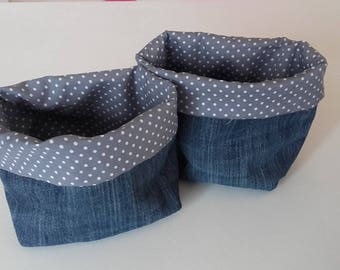 Storage fancy jeans and cotton pouch