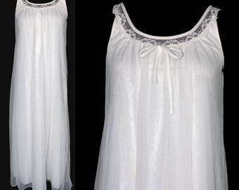 Vintage Miss Elaine Chiffon Lingerie Nightie Shift, White 1960s, Size Medium
