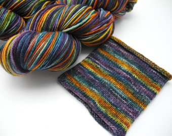 Flower Shop Inferno Watercolor Stripes - Self-Striping Sock Yarn Made to Order