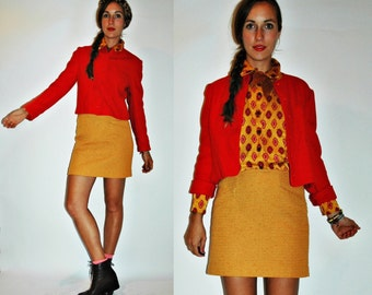 SALE  1970s Pendleton Cherry Red Wool Fitted Cropped Blazer Jacket