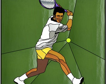 Male tennis player stained glass pattern design sports