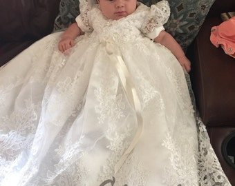 Lauren Lace Christening gown set Baptism Gown Handcrafted Heirloom gown set