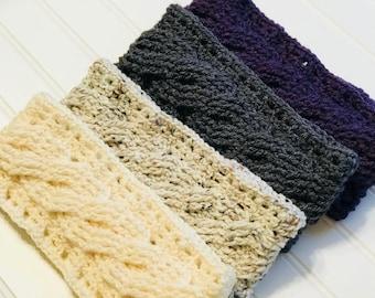 Ready To Ship- ear warmer- Crochet cabled headband, women's, teens, girls, handmade