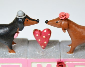 Doxie Love Wedding Cake Topper - One of a Kind Art Sculpture