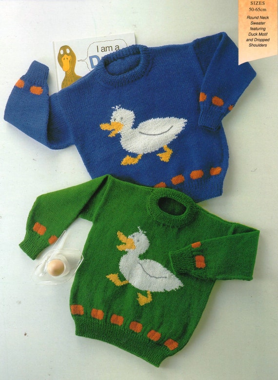 Pdf Knitting Pattern Duck Motif Baby Sweater 8 Ply And 4ply Yarn